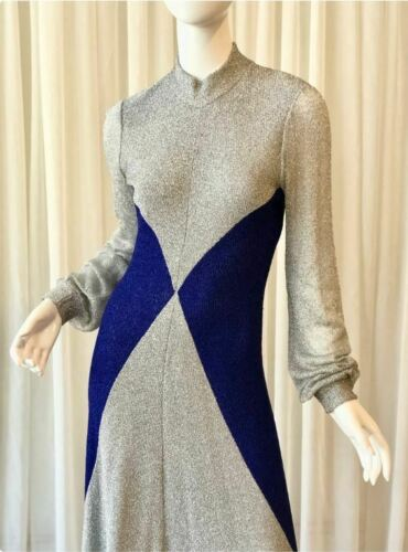 70s Metallic Knit Maxi Dress WENJILLI STYLE sz M