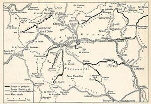 Valle D Aosta Cartina Geografica Politica.W9459 Cartina Rete Stradale In Valle D Aosta Pubblicita Del 1937 Old Map Ebay