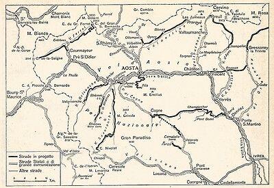 Cartina Valle D Aosta Stradale.W9459 Cartina Rete Stradale In Valle D Aosta Pubblicita Del 1937 Old Map Ebay