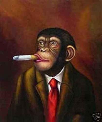 LMOP707 The gorilla monkey portrait animals hand paint art oil painting canvas