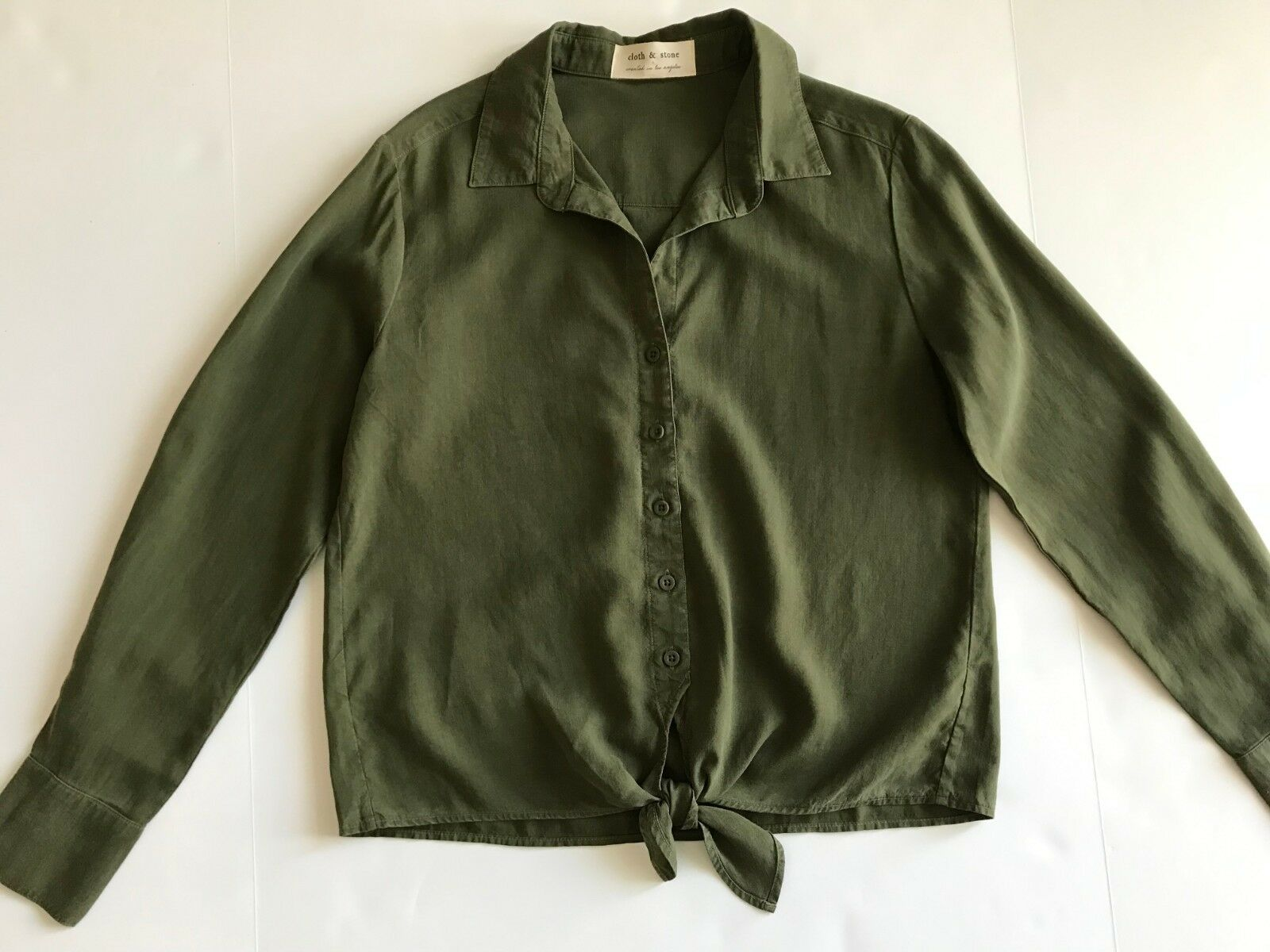 NEW CLOTH & STONE SzS TIE FRONT LONG SLEEVE BUTTON DOWN SHIRT BURNT OLIVE