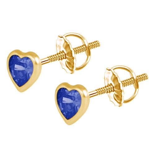 Heart Sapphire Stud Earrings 10k Yellow gold 4mm