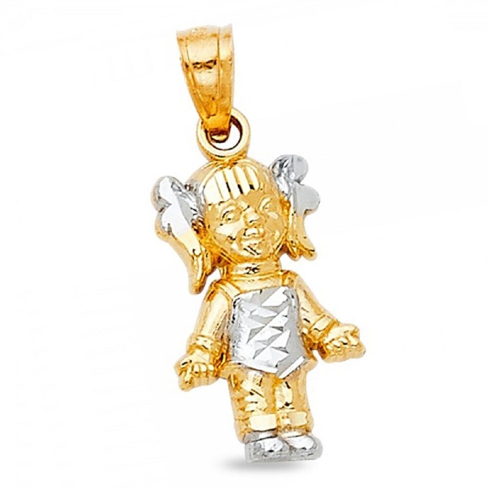 Small Girl Charm Solid 14k Yellow White gold Kids Pendant Diamond Cut Fancy