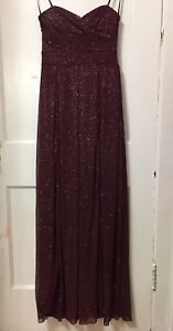 Women B Darlin Burgundy Strapless Double Front Slit Party