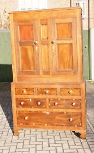 Antique Anglesey Oak Linen Press Cupboard