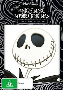 THE-NIGHTMARE-BEFORE-CHRISTMAS-Tim-Burton-NEW-DVD-R4-Region-4-Australia