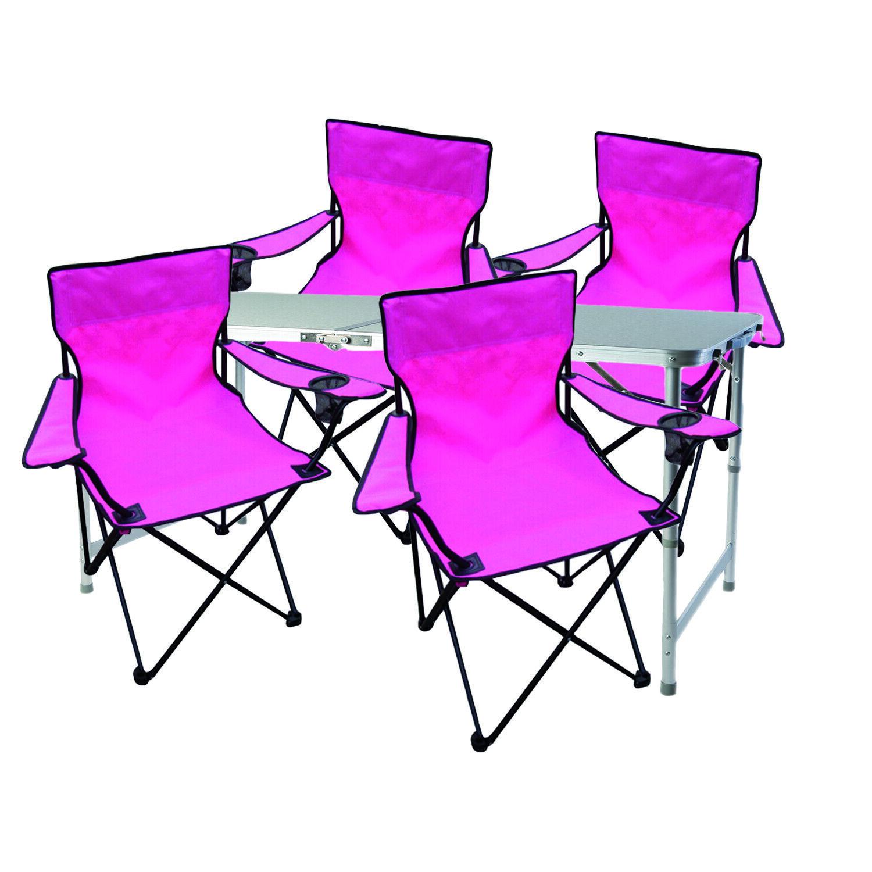 5tlg Campingmöbel Set Rosa Tisch mit Tragegriff und Stühle Rosa + Tasche