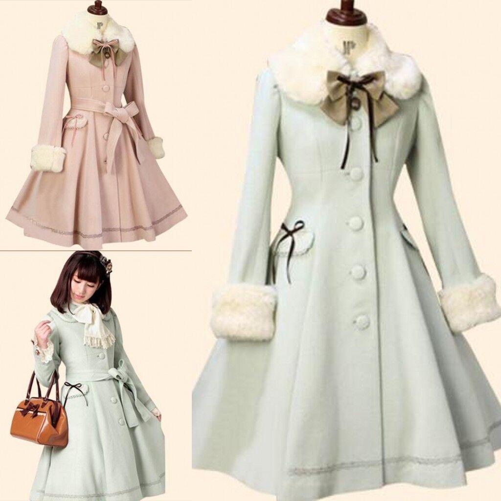 Women Woolen Coat Kawaii Vintage Winter Cute Merry Christmas Lolita Costume Coat