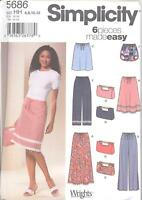 Simplicity 5686 Misses' Skirt In 3 Lengths, Pants In 2 Lengths, Shorts And Bag