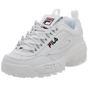 mignon pas cher de gros nouveau sélection Détails sur Fila Disruptor II GS Garçon/Femmes Marche Chaussures Blanc /  Caban / Rouge