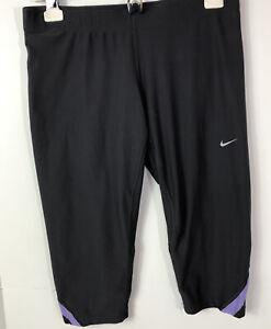 Nike Dri Fit Womens Sz M Tight Fit Crop Leggings Running ...