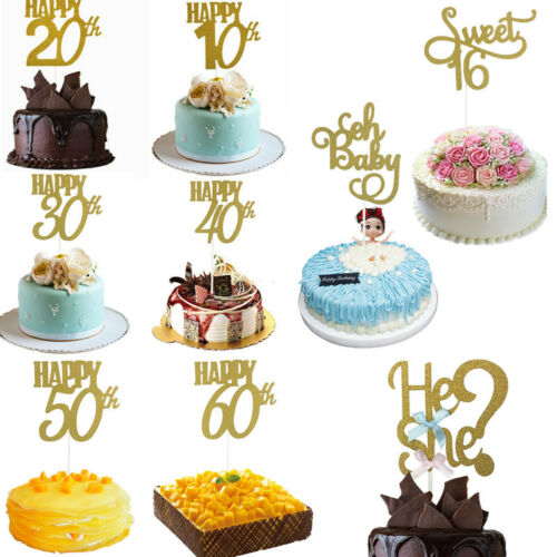 HOT Birthday Party Cake Gold Glitter Topper 30th Anniversary Wedding Cake Decor