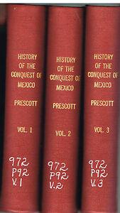 History-of-the-Conquest-of-Mexico-by-William-Prescott-1873-3-Vol-Rare-Book