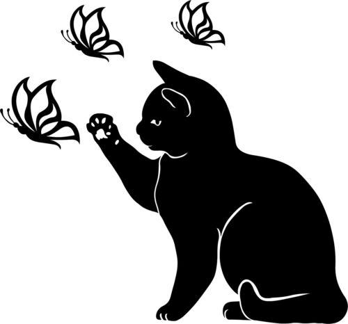 Katze Cat Kitten Aufkleber Wandtattoo Sticker Heckscheibe Auto Spiegel