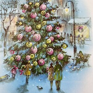 Vintage-Mid-Century-Christmas-Greeting-Card-Glitter-Tree-Pink-Gold-Ornaments