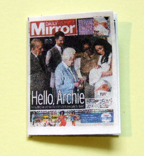 Dollshouse Miniature Newspaper Daily Mirror 1st pictures of Royal Baby Archie