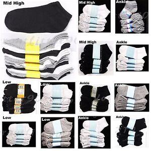 Kids Cotton Socks Lot Crew Ankle Low Cut 2-3 4-6 6-8 Boy/'s Girl/'s White Black