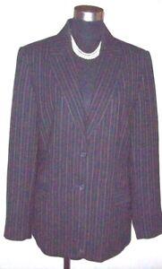 8aa3a5f24c5e Women's Laura Scott Dress Suit Jacket Sz 12 Black Pinstriped Blazer ...