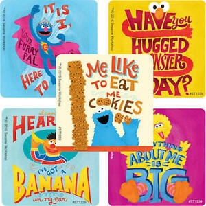 Details About 25 Sesame Street Quotes Stickers Party Favors Teacher Supply Elmo Cookie Monster
