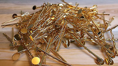 New! LOT OF 10PC GOLD BOBBY KIRBY PINS SLIDE GRIPS DIY ACCESSORIES 10mm