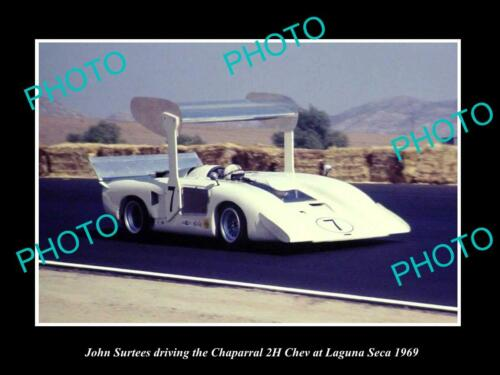 OLD 8x6 HISTORIC PHOTO OF JOHN SURTEES & HIS CHAPARRAL 2H, LAGUNA SECA 1969