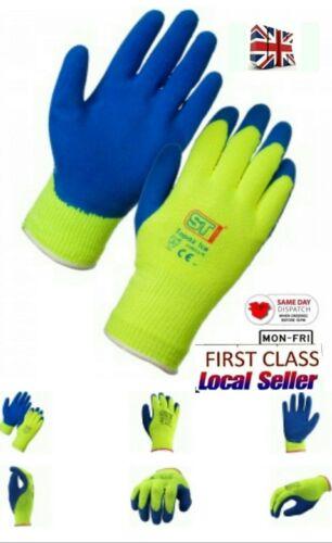 10 pairs Hi Vis//Viz Cold Store//Freezer//Thermal Grip Winter Safety Work Gloves M