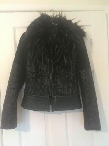 Black 3 en Guess et différents Jacket détachable fourrure looks Peplum Col dwwqIP81