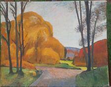 Autumn Landscape Modernist Oil Painting-16 x 20-1956-Israel Louis Winarsky