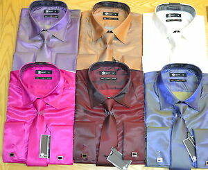 MENS-TWO-TONE-SHIRT-FASHION-WEDDING-PARTY-PROM-FUNTION-DOUBLE-CUFF-TIE-CUFF-LINK
