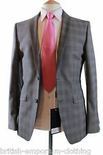 BNWT Holland Esquire Grey Tailored Fit P.O.W. Check TONIC WOOL Suit Uk38