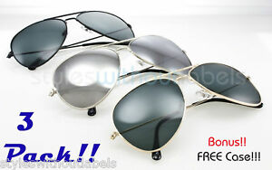 a3786cd8ce71 3 PACK ! Classic Mirrored Lens METAL AVIATOR SUNGLASSES Silver Gold ...