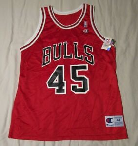 low priced 84ddf 5df9a Details about Authentic Vintage Champion Chicago Bulls Michael Jordan #45  Jersey Red NWT 44
