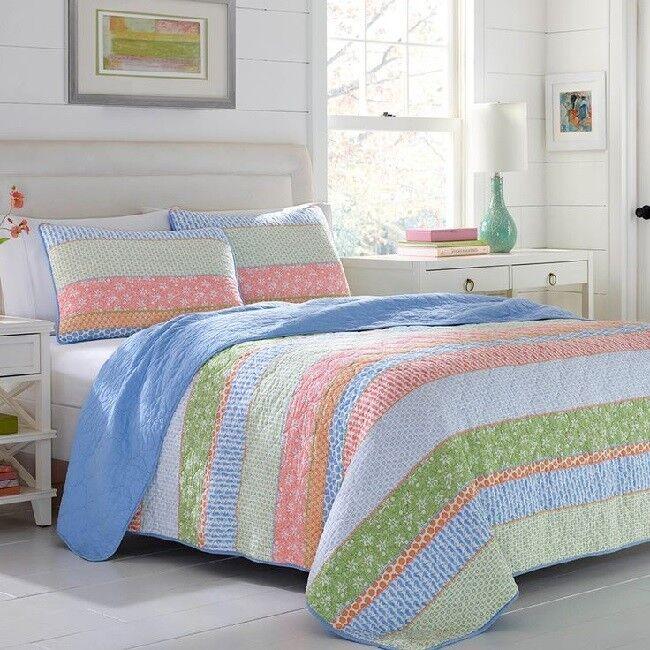 Coastal Quilt Set Queen Beddding Comforter Cover Seaside Beach Pink Green blueeee