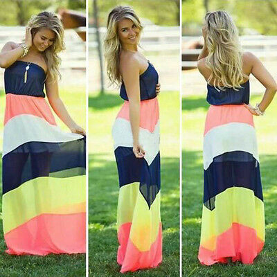 BOHO Sexy Women Summer Boho Long Maxi Evening Party Dress Beach Dresses Sundress