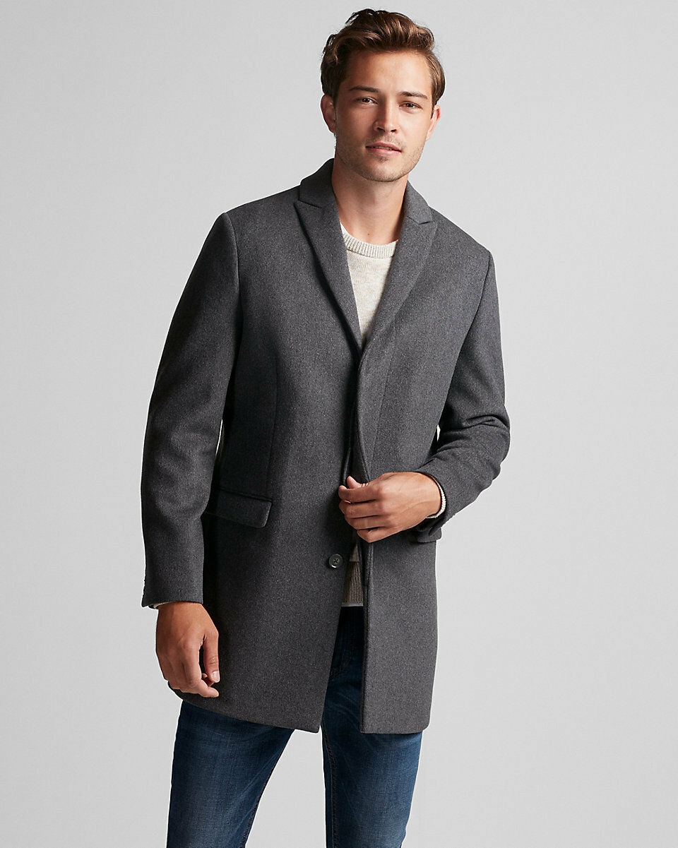 NEW EXPRESS 298 grau TWILL RECYCLED WOOL TOPCOAT COAT SZ XL EXTRA LARGE