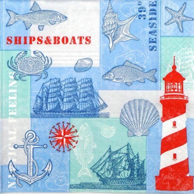4 single paper decoupage napkins sea anchor design -715 marine Blue