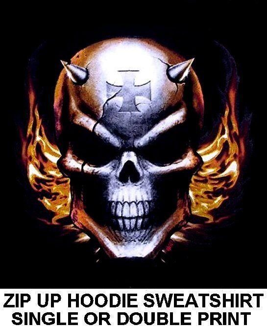 DEVIL DEMON SKULL HORNS SPIKE EVIL FLAMES MALTESE CROSS ZIP HOODIE SWEATSHIRT 22
