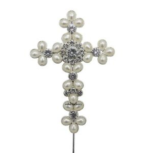 CROSS-CAKE-PICK-TOPPER-DECORATION-DIAMANTE-SPARKLY-CHRISTENING-HOLY-COMMUNION-pw