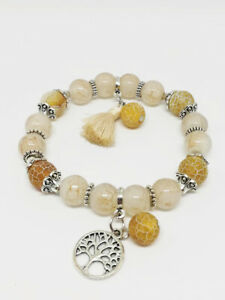 Bracelet-Bijoux-femme-Fantaisie-Beige-Arbre-de-Vie-Pompon-amp-Perles-NEUF-ref-19