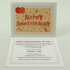 TY Beanie Baby Thank You Letter Card for MC Anniversary Bear #4 (Card only)