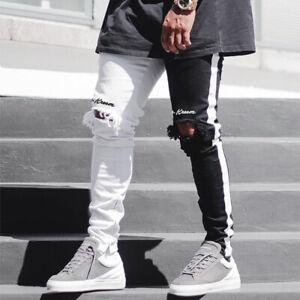 Para Hombre Rasgadas Jeans Estrechos Elastizados Lapiz Ajustado Recto Pantalones Personalizado Ebay