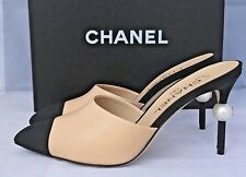 $1.1K 2016 CHANEL RUNWAY BEIGE BLACK LEATHER SLIDES MULES HEELS SHOES PEARL 38.5