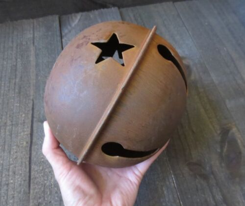 2pc Lot Huge 7 inch Rusty Jingle Bell Primitive Decor Rustic Country Star Cutout