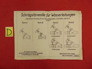 Bücher Schema Schrägsitzventile Für Wasserleitungen Zugellasen Am 23.10.1936 Direktverkaufspreis Antiquitäten & Kunst