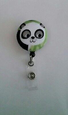 Panda Retractable ID Nurse DR Tech TeacherBadge HolderAlligator Slide Lanyard