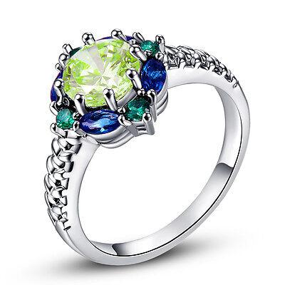 Round Cut Green Amethyst & Sapphire Quartz Gemstone Silver Ring Size 6 7 8 9 10