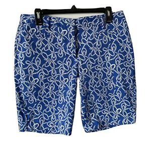"""Lands' End Womens 6 Mid Rise Shorts 10"""" Inseam Pockets Nautical Rope Bermuda"""
