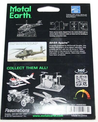 Fascinations AH-64 Apache Helicopter 3D Metal Earth Model Kit MMS083