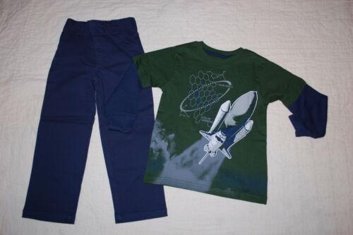 Boys DARK GREEN L//S T-SHIRT Rocket Space Shuttle NAVY BLUE PANTS Woven SIZE 4