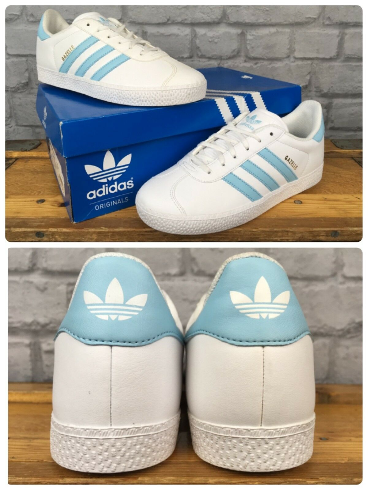 ADIDAS GAZELLE TRAINERS WHITE BLUE LEATHER TRAINERS GAZELLE CHILDREN LADIES GIRLS 972da5